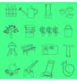 garden simple outline symbols and icons eps10 vector image vector image