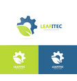 gear and leaf logo combination mechanic vector image vector image
