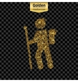 Gold glitter icon of hiker isolated on vector image