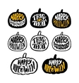 happy halloween badges or labels design vector image