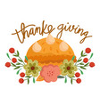 happy thanksgiving day pumpkin cake sweet food vector image vector image