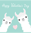 happy valentines day llama alpaca animal set face vector image