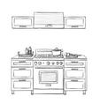 Kitchen cupboard shelves vector image vector image