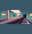 metro station empty subway platform vector image