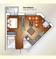 modern one bedroom apartment top view vector image vector image