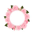 pink rose flower banner wreath vector image