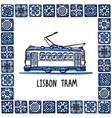 portugal landmarks set lisbon retro tram vector image