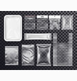 realistic plastic pocket bag mockup zipped bag vector image