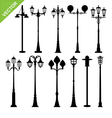 Retro street lamps silhouettes vector image vector image