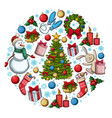 round template with christmas icons vector image vector image