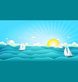 sailing boats in wide summer ocean vector image