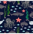 seamless pattern with cute sharks fish vector image vector image