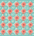 seamless pattern with flowers and swirls on green vector image vector image