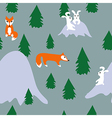 Seamless pattern with rabbits and foxes in forest vector image vector image