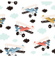 seamless pattern with retro air planes in sky