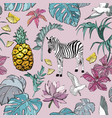 seamless pattern with summer tropical flowers vector image vector image