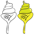 set Ice cream Black outline and painted vector image