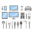 set of pc gadgets and devices flat icons vector image vector image