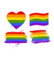 set rainbow lgbt flag color symbols vector image vector image
