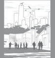 Silhouettes of people on city background with