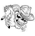skull cowboy ride a horse vector image