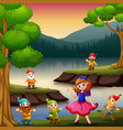 snow white with dwarf in the beside the lake vector image vector image