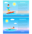 surfing and swimming water sports activity cards vector image vector image
