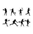 tennis player silhouettes and shadows vector image vector image