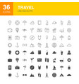 travel line web glyph icons vector image