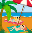 Two girls sunbathing on the beach vector image