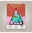 Vintage poster with high detail scooter vector image vector image