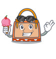 with ice cream hand bag character cartoon vector image vector image