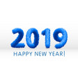 wooly blue hairy shaggy wool 2019 happy new year vector image vector image