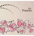 retro red poppies vector image