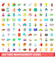 100 time management icons set cartoon style