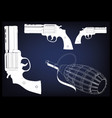 3d model of a pistol and grenade vector image vector image