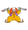 angry evil clown with a bloody knifes vector image