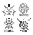 authentic vikings themed logo isolated monochrome vector image vector image