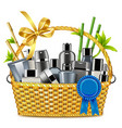 basket with male cosmetics vector image vector image