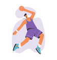 basketball player in uniform jumping with ball vector image vector image