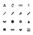 black simple flat icon set 8 vector image