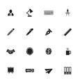 black simple flat icon set 8 vector image