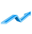 blue arrow up growing financial 3d shiny icon vector image vector image