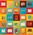 book icons set flat style vector image