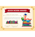 Bookworm award template with books and worm vector image vector image