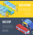 bus waiting station isometric 3d posters vector image vector image