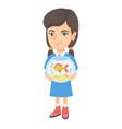 caucasian girl holding aquarium with goldfish vector image vector image