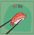 chopsticks holding sushi roll nigiri vector image vector image
