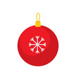 christmas tree red ball flat on white background vector image