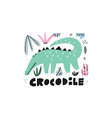cute crocodile hand drawn vector image